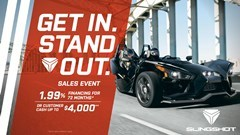 Slingshot Get In. Stand Out. Sales Event